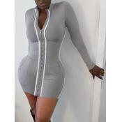 lovely Sportswear Zipper Design Patchwork Grey Min
