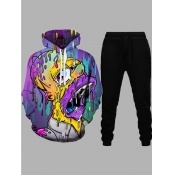 Lovely Casual Hooded Collar Cartoon Print Multicolor Men Two-piece Pants Set