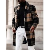 Lovely Casual Turndown Collar Grid Print Black Men Wool