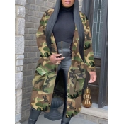 Lovely Stylish Turndown Collar Camo Print Army Green Long Trench Coat