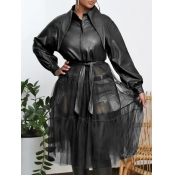 lovely Street Turndown Collar Patchwork See-through Black Trench Coat