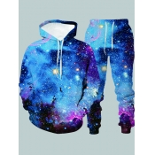 Lovely Stylish Hooded Collar Starry Sky Print Mult
