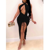 Lovely Sexy Backless Hollow-out Black Ankle Length Dress