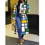 lovely Stylish Turndown Collar Grid Print Blue Long Coat