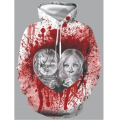 Lovely Stylish Hooded Collar Print White Men Hoodie
