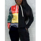 Lovely Casual Hooded Collar Print Patchwork Black Hoodie