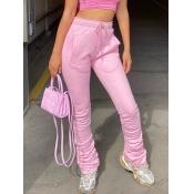 Lovely Street Fold Design Drawstring Pink Pants