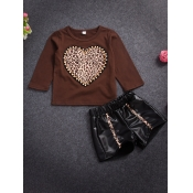 lovely Casual O Neck Heart Print Coffee Girl Two-piece Shorts Set