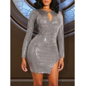 lovely Sexy Hollow-out Side Slit Silver Mini Dress