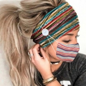 lovely Rainbow Striped Multicolor Face Mask(With H