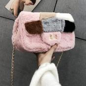 lovely Stylish Chain Strap Pink Crossbody Bag