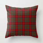 Lovely Stylish Grid Print Red Decorative Pillow Ca