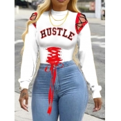 Lovely Casual O Neck Letter Print Bandage Design White Hoodie