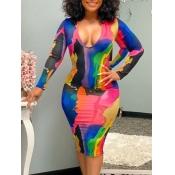 lovely Trendy V Neck Tie-dye Multicolor Knee Length Dress