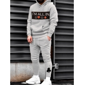 Lovely Leisure Hooded Collar Print Grey Men Two-piece Pants Set