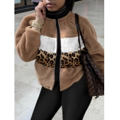 lovely Stylish Leopard Print Patchwork Coat