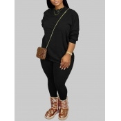 Lovely Casual O Neck Basic Black Plus Size Two-piece Pants Set