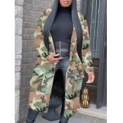 lovely Trendy Turndown Collar Camo Print Army Gree