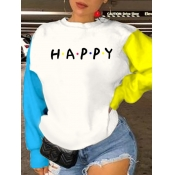 lovely Casual O Neck Letter Patchwork White Hoodie