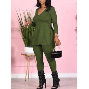 Lovely Casual V Neck Side Slit Green Plus Size Two