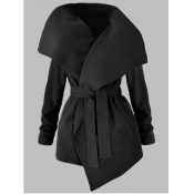lovely Casual Turndown Collar Lace-up Black Coat
