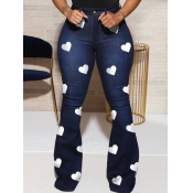 Lovely Stylish Heart Print Deep Blue Jeans