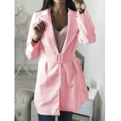 lovely Stylish Turndown Collar Basic Pink Blazer
