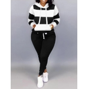 Lovely Casual Hooded Collar Striped Black Plus Size Two-piece Pants Set