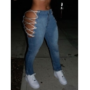 Lovely Street Bandage Design Blue Jeans