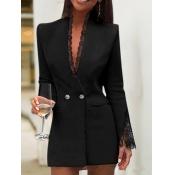 lovely Stylish V Neck Lace Hem Black Blazer