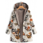 Lovely Casual Hooded Collar Plants Print White Lon