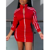 lovely Sportswear Turndown Collar Patchwork Red Ho