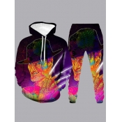 lovely Stylish Hooded Collar Print Multicolor Men Two-piece Pants Set