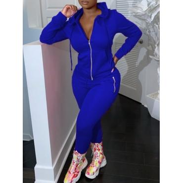 LW Hooded Collar Zipper Design Pants Set