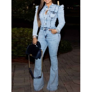 Lovely Trendy Pocket Patched Baby Blue Denim One-p