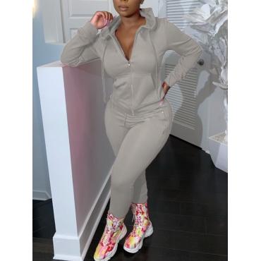 LW Casual Hooded Collar Zipper Design Grey Two Piece Pants Set