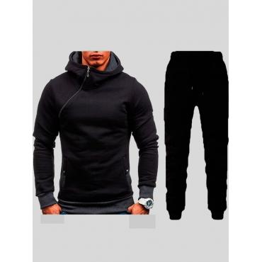 LW Men Leisure Hooded Collar Zipper Design Black Two-piece Pants Set