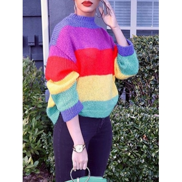 Lovely Trendy O Neck Rainbow Striped Multicolor Sw