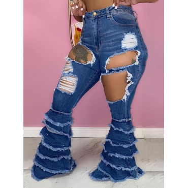 Lovely Street Broken Holes Flared Deep Blue Jeans