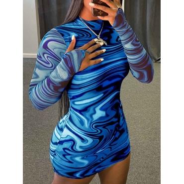 Lovely Casual Striped Print Skinny Blue Mini Dress