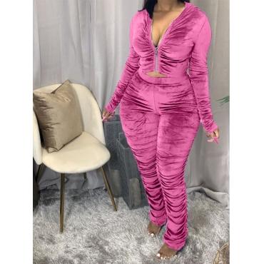 LW Plus Size Hooded Collar Fold Design Pants Set