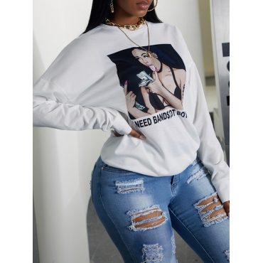 Lovely Casual O Neck Print White Hoodie