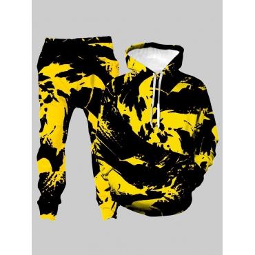 Lovely Trendy Hooded Collar Tie-dye Yellow Men Two
