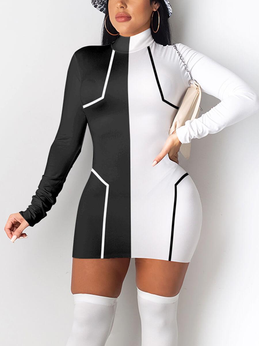 LW Turtleneck Color-lump Patchwork Dress