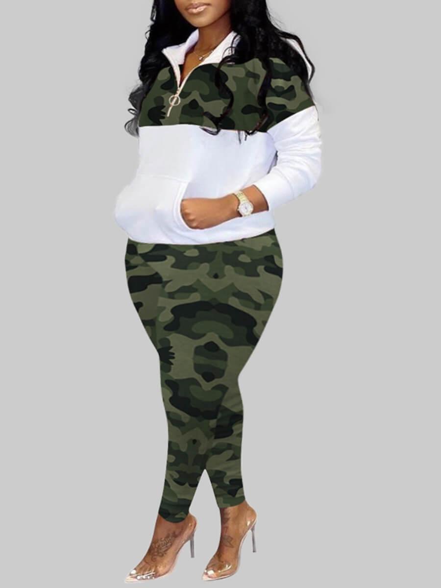 Lovely Sportswear Turndown Collar Camo Print Patchwork Green Plus Size Two-piece Pants Set