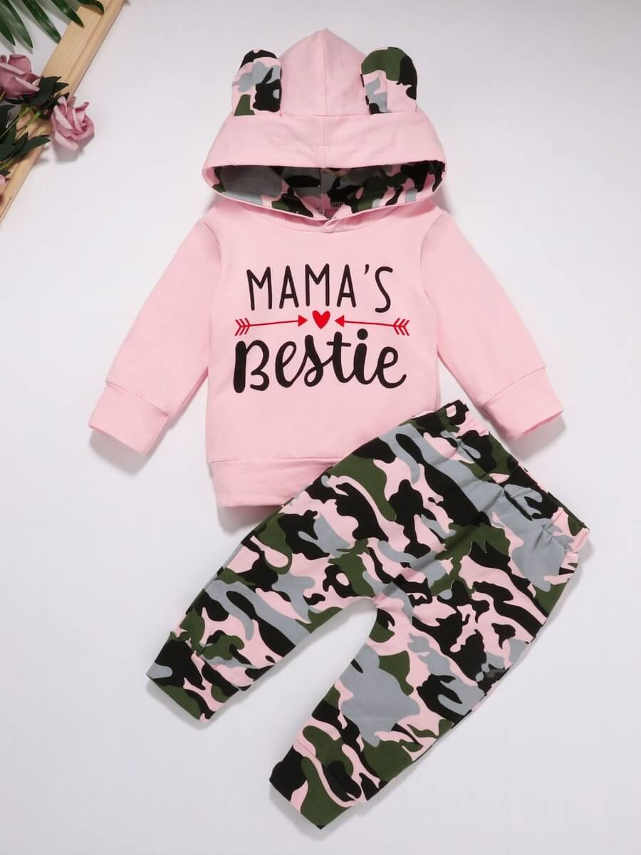 Lovely Casual Hooded Collar Letter Print Pink Girl