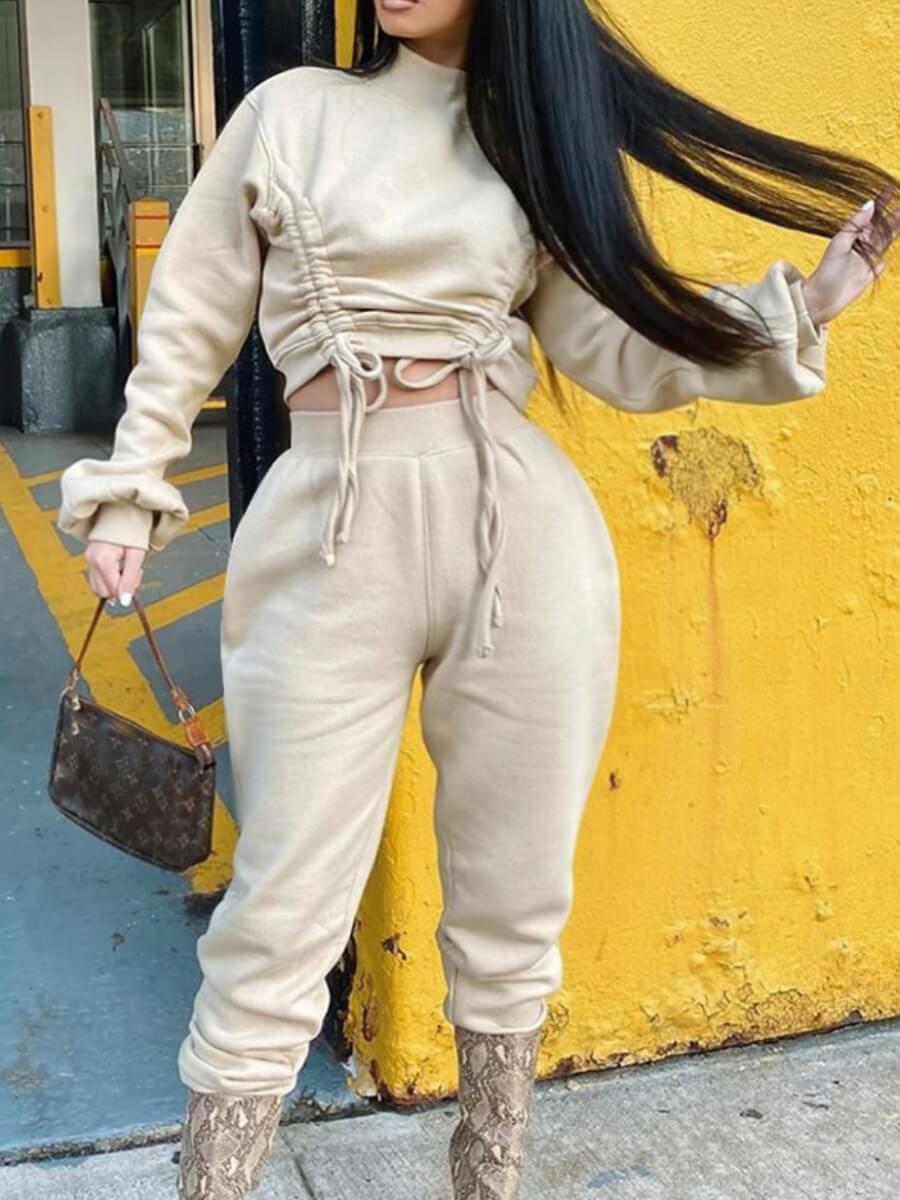 LW Plus Size Casual Half A Turtleneck Drawstring White Two-piece Pants Set