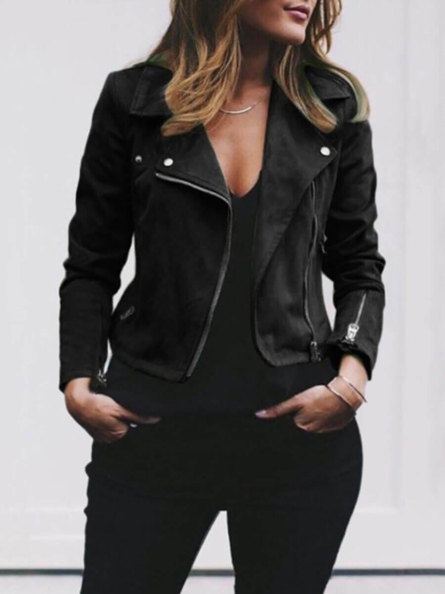 Lovely Casual Turndown Collar Zipper Design Black