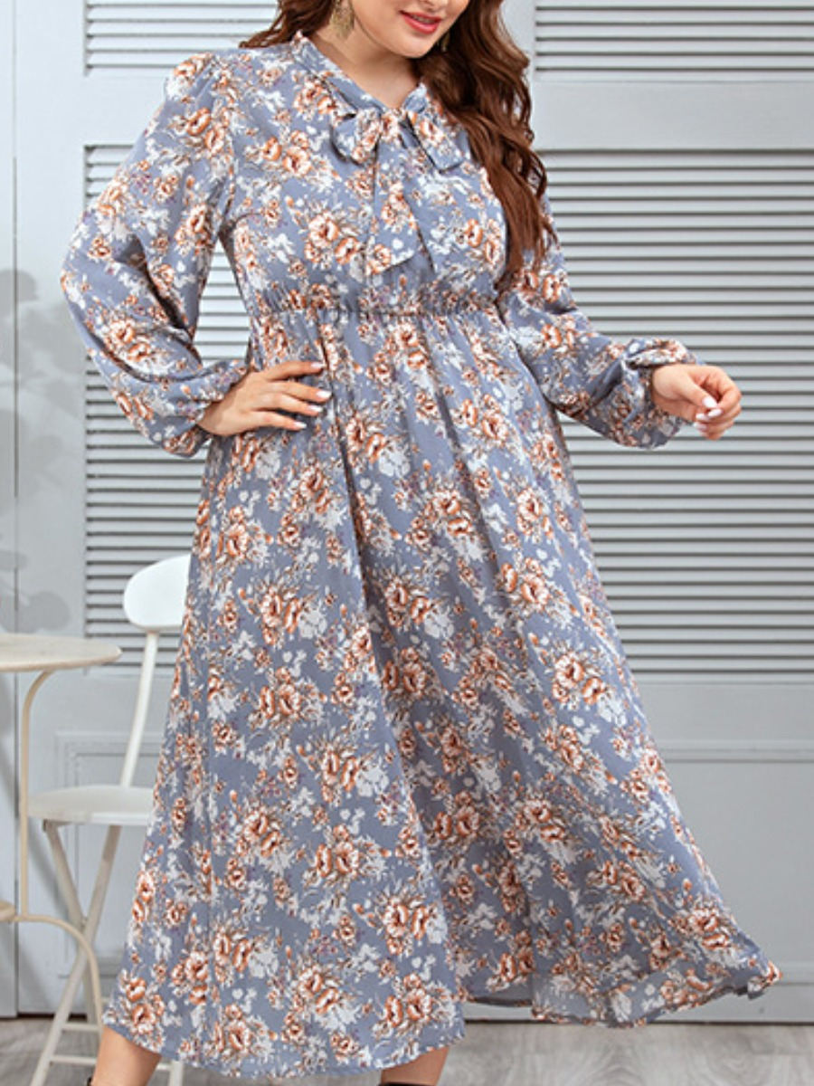 LW Trendy Ribbon Collar Floral Print Light Grey Ankle Length Dress