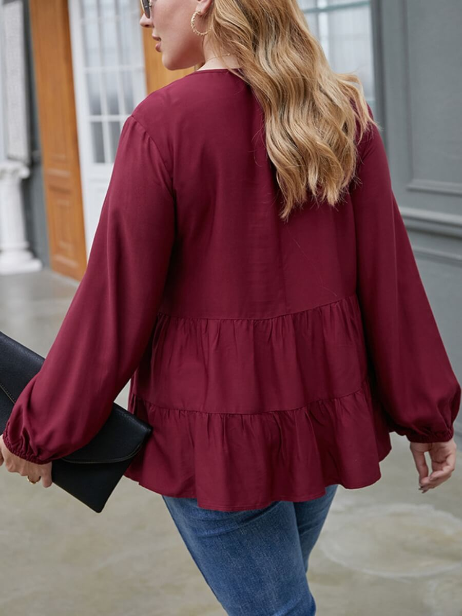 Lovely Sweet V Neck Buttons Fold Design Wine Red Blouse